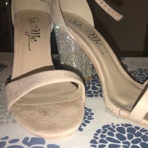 Blush ankle strap silver sparkle heels